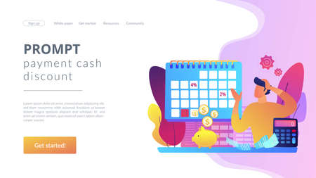 Financial literacy, finances management, credit plan evaluation. Early payment discount, prompt payment cash discount, pay early pay less concept. Website homepage landing web page template.