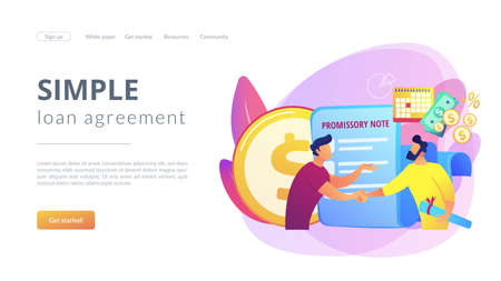 Promise to pay. Money borrowing document. Credit deal, legal contract. Promissory note, commercial paper form, simple loan agreement concept. Website homepage landing web page template. 일러스트
