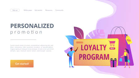 Rewards scheme for customers. Marketing strategy. Clients attraction. Loyalty program, personalized promotion, use your purchase history concept. Website homepage landing web page template. 矢量图像