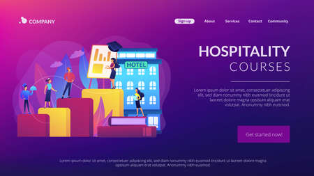 Hostel employee, chef, maid, and bell boy education. Hospitality courses, hospitality staff training, hotels industry training program concept. Website homepage landing web page template. Stock Illustratie