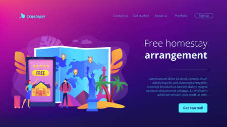 Tourist agency mobile app. Worldwide sightseeing tours. Hospitality and travel clubs, join travelers community, free homestay arrangement concept. Website homepage landing web page template. 写真素材 - 151074746
