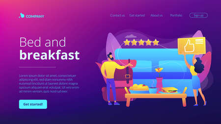 Luxurious service, satisfied customer feedback, positive review. Bed and breakfast, overnight home accommodation, bed and breakfast hotel concept. Website homepage landing web page template.