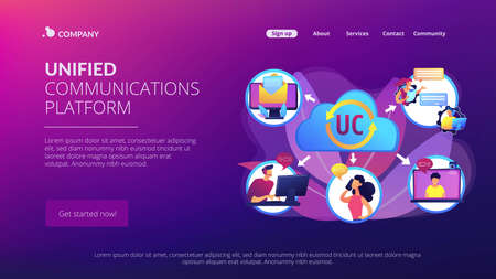 Communication integration. Collaboration service. Unified communication, unified communications platform, consistent unified user interface concept. Website homepage landing web page template.