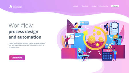 Workforce organization and management. Workflow processes, workflow process design and automation, boost your office productivity concept. Website homepage landing web page template. Stock Illustratie