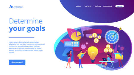 Executive manager planning and monitoring presentation. Project initiation, project initiation documentation, determine your goals concept. Website homepage landing web page template.