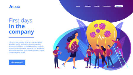 Company newcomers, personnel, staff. New team members, adaptation of new employees, first days in company, new employees training concept. Website homepage landing web page template. Stock Illustratie