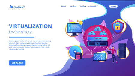 Virtual machines. Operating system and data storage. Virtualization technology, process virtual representation, reduce IT expenses concept. Website homepage landing web page template.