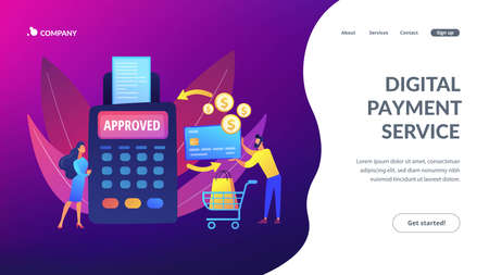 Money transfer. Financial services. POS terminal. Online shopping. Payment processing, easy payment systems, digital payment service concept. Website homepage landing web page template.