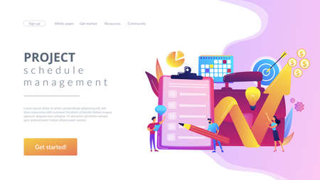 Profit growth strategy idea. Business development solution. Project planning, project plan creation, project schedule management concept. Website homepage landing web page template.