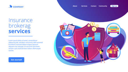 Private property, transport and life protection. Insurance broker, insurance brokerage services, insurance agent near you concept. Website homepage landing web page template.
