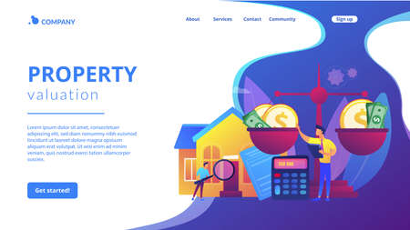 Real estate agency, property selling and buying. Financial consulting. Appraisal services, property valuation, appraisal professionals concept. Website homepage landing web page template.