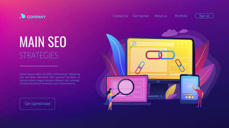 Online communication technology, internet business, marketing research. Link building, main SEO strategies, search engine optimization concept. Website homepage landing web page template.