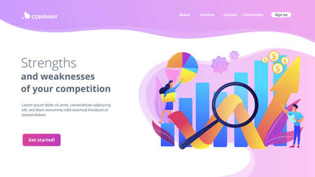 Business development strategy evaluation. Competitive analysis, strengths and weaknesses of your competition, company marketing plan concept. Website homepage landing web page template. Archivio Fotografico - 151075628