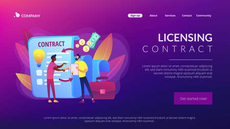 Quality assurance. Business deal. Guarantee certificate. Licensing contract, intellectual property agreement, electronic copy sales concept. Website homepage landing web page template.