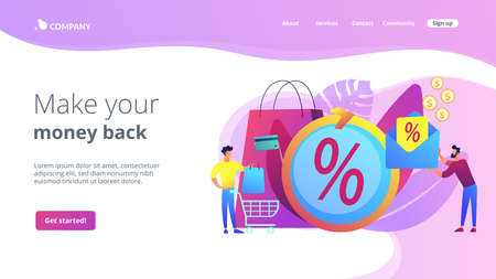 Money saving. Cashback service. Cost transfer. Online payment and reward. Rebate program, mail-in rebate method, make your money back concept. Website homepage landing web page template.