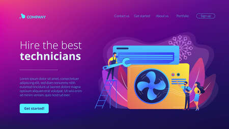 Electrician service. Air conditioning and refrigeration services, installation and repair of air conditioners, hire best technicians concept. Website homepage landing web page template.