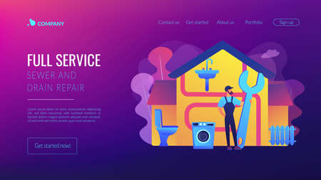 Repairman service. Handyman with wrench, mechanic. Plumber services, full service sewer and drain repair, cheap and reliable plumbers concept. Website homepage landing web page template.