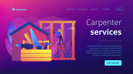 Building construction site. Handyman working. Carpenter services, building maintenance and home renovation, get local carpenters concept. Website homepage landing web page template.
