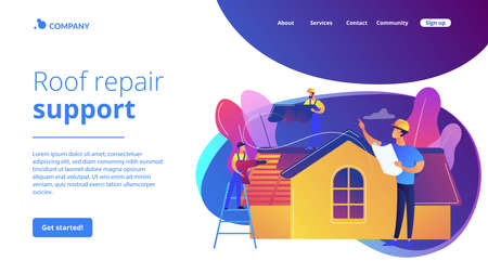 Building repair. Housetop renovation and roof reconstruction. Roofing services, roof repair support, peak roofing contractors concept. Website homepage landing web page template.