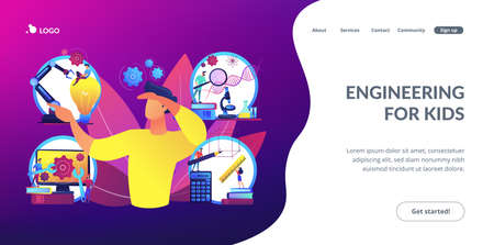 Multidisciplinary teaching method, modern learning system, knowledge gaining. STEM education, STEM integration, engineering for kids concept. Website homepage landing web page template. Stock Illustratie