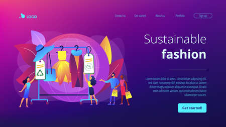 Recyclable and eco textile. Sustainable fashion, sustainable manufacturing brand, green technologies in fashion, ethical clothing production concept. Website homepage landing web page template. Vectores