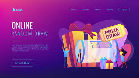Lucky tiny people turning raffle drum with tickets and winning prize gift boxes. Prize draw, online random draw, promotional marketing concept. Website vibrant violet landing web page template.