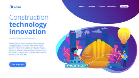 Building engineers using smart materials. Innovative construction materials, construction technology innovation, hi-tech bulding resources concept. Website vibrant violet landing web page template.