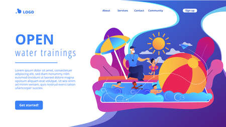 Coach teaching and children learning to swim in the pool in summer camp, tiny people. Swim camp, open water trainings, best swimmer course concept. Website homepage landing web page template. Çizim