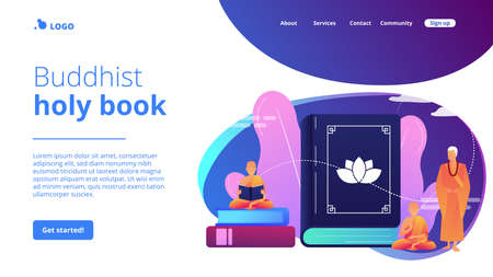 Buddhist monks in orange robes meditating and reading, tiny people. Zen Buddhism, Buddhism place of worship, buddhist holy book concept. Website homepage landing web page template.