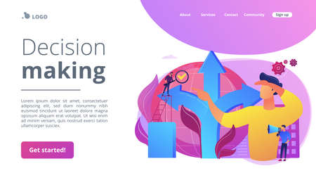 Career opportunity. Life coaching, self development. Path, direction choosing. Decision making, problem solving activity, best decision here concept. Website homepage landing web page template.