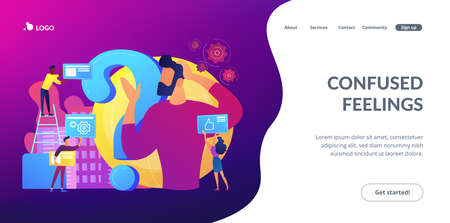 Self management, life coaching. Man doubting, questioning, brainstorming. Identity crisis, delirium and mental confusion, confused feelings concept. Website homepage landing web page template.