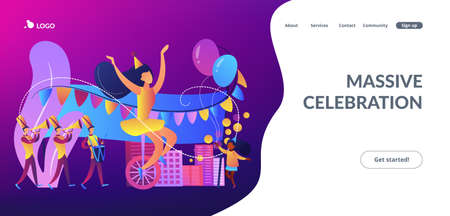 Parade of tiny people, clown, marching music band at national holiday or carnival. Parade, massive celebration, march procession of people concept. Website vibrant violet landing web page template.