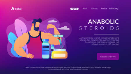 Tiny people doctor with syringe doing anabolic steroids injection to an athlete. Anabolic steroids, anti-aging aid, illegal sport drugs concept. Website vibrant violet landing web page template.