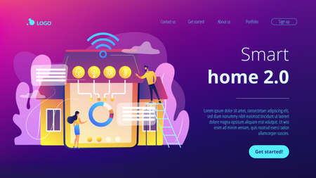 Tiny business people at innovative smart home automation system. Smart home 2.0, next generation IoT, home with cognitive intelligence concept. Website vibrant violet landing web page template.