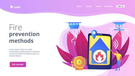 Flame in house remote notification. Smart home, high tech. Fire alarm system, fire prevention methods, smoke and fire alarm concept. Website homepage landing web page template.