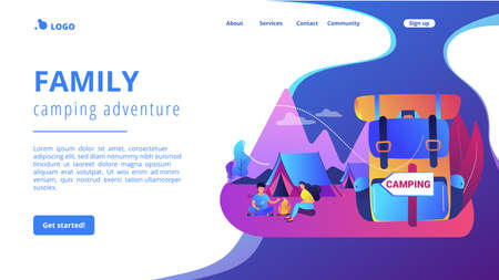 Tent in forest, tourists hiking, backpacking holiday. Summer camping, family camping adventure, sleepaway camp, best camping gears here concept. Website homepage landing web page template.