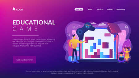 Entertaining studying, logical thinking development. Educational game, gaming education platform, gamified learning system, play and learn concept. Website homepage landing web page template. Stockfoto - 151084166