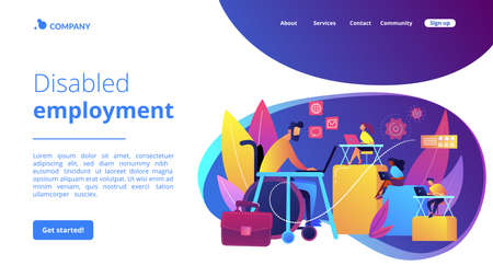 Person adaptation with disability. Office workplace, coworking zone. Disabled employment, work for disabled people, we hire all people concept. Website homepage landing web page template.