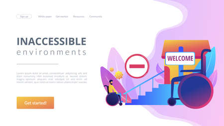 Structural obstacles. Prevent access, block mobility. Inaccessible environments, physical mobility barriers, problems of disabled people concept. Website homepage landing web page template.