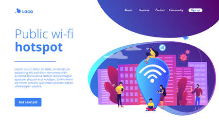 Surfing web, browsing through websites. Free internet, network. Public wi-fi hotspot, free wireless internet access, free wifi service concept. Website homepage landing web page template.