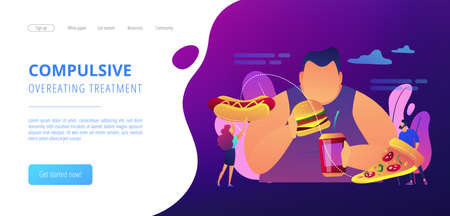 Overweight man eating burger, tiny people giving fast food. Overeating addiction, binge eating disorder, compulsive overeating treatment concept. Website vibrant violet landing web page template.