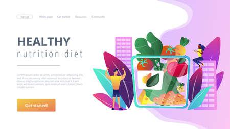 Vegetarian healthy eating, vegan takeaway meal, organic food. Assorted snack pack, trendy snack on the go, healthy nutrition diet concept. Website homepage landing web page template. Stock Illustratie