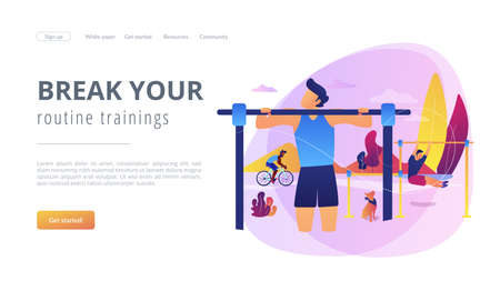 Man training in park, outside gym. Outdoor workout, best bodyweight exercises, outdoor workout equipment, break your routine trainings concept. Website homepage landing web page template. Ilustração