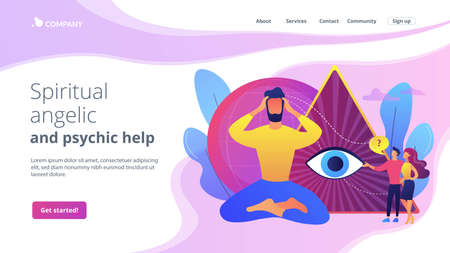 Enlightenment and future prediction metaphor. Clairvoyance ability, clairvoyant psychic services, spiritual angelic and psychic help concept. Website homepage landing web page template. Ilustração