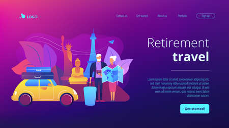 Senior couple abroad road trip. Elderly people on around world sightseeing tour. Retirement travel, traveling on pension, slow travel method concept. Website homepage landing web page template. Ilustração