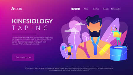 Athlete weightlifting and using kinesiology tape, therapist, tiny people. Kinesiology taping, kinesio taping method, physiotherapy treatment concept. Website vibrant violet landing web page template.