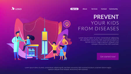 Pediatrician giving girl injection. Vaccination of preteens and teens, older children immunization, prevent your kids from diseases concept. Website homepage landing web page template. Ilustracja