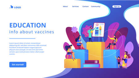 Immunity protection, preventive medicine. Immunization education, education info about vaccines, educate parents about vaccinations concept. Website homepage landing web page template. 일러스트