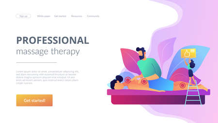 Medical spa procedure. Health care. Body pain and stress curing. Professional massage therapy, spa therapy services, treatment of body concept. Website homepage landing web page template.
