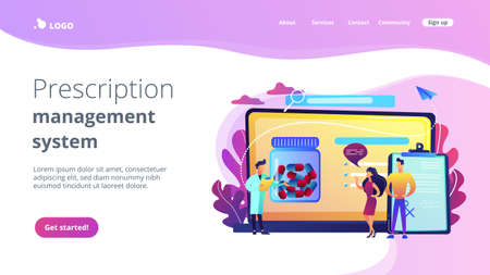 Tiny people, doctor prescribing medicine to patients online. Online prescription system, prescription management system, online pharmacy concept. Website vibrant violet landing web page template.